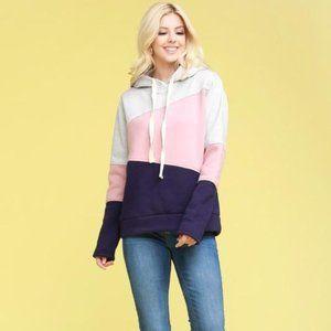 Color block hooded long sleeve sweatshirt